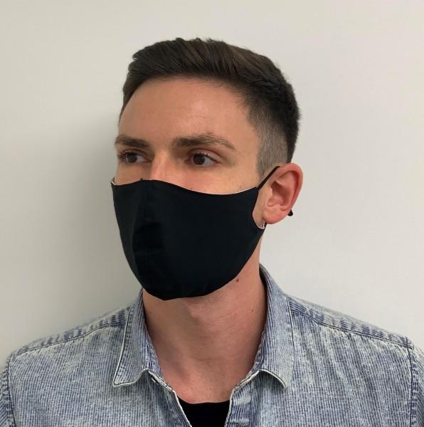 Mehrweg Mund- und Nasenmaske schwarz, Gummizug