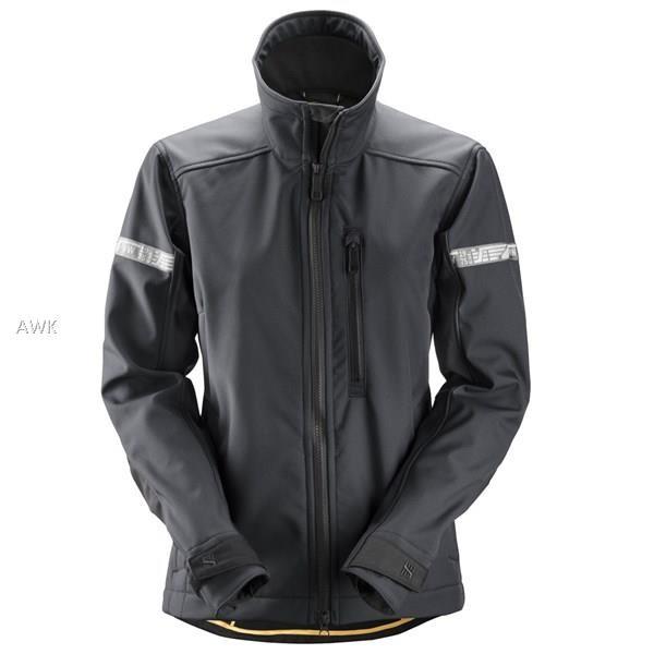 AllroundWork Damen Softshell Jacke, Steel Grey/Bla