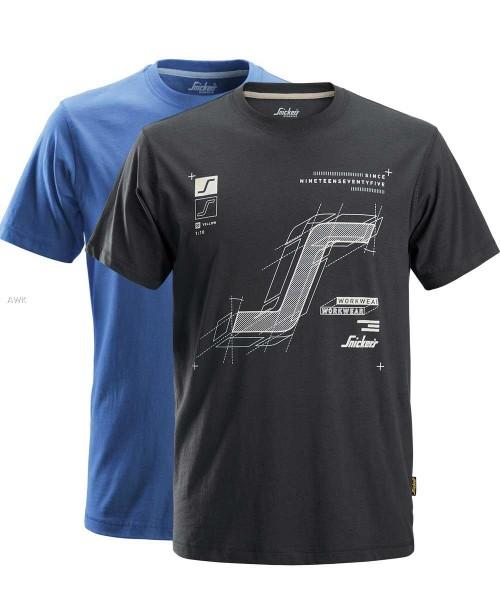 T-Shirt Doppelpack kurzarm, grau und blau