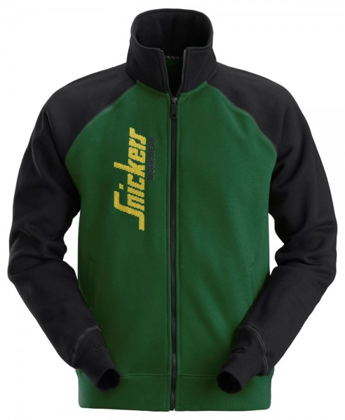 Sweatjacke mit Logo, forestgreen-schwarz